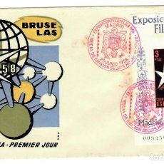 Sellos: SOBRE (MADRID 1958), ALFIL: EXPOSICIÓN FILATÉLICA NACIONAL - PRIMER DÍA DE EMISIÓN SELLOS HOJAS BLOQ. Lote 141619098