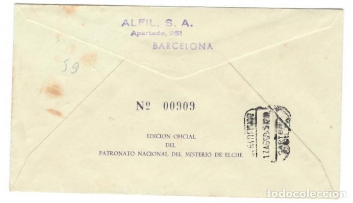 Sellos: Sobre (1955), Alfil, Edición Oficial del Patronato Nacional del Misterio de Elche: Monumento Naci.. - Foto 2 - 141715778
