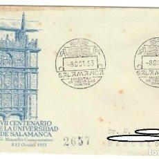 Sellos: SOBRE (SALAMANCA 1953), ALFIL: VII CENTENARIO DE LA UNIVERSIDAD DE SALAMANCA - MATASELLOS CONMEMORAT. Lote 141739982