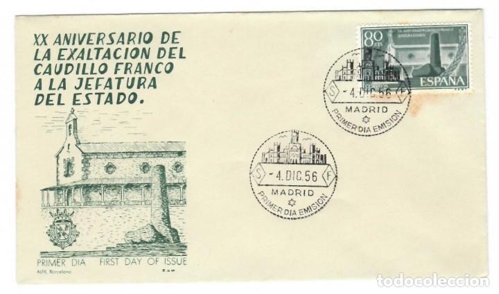 SOBRE SPD (MADRID 1956), ALFIL: XX ANIVERSARIO DE LA EXALTACIÓN DEL CAUDILLO FRANCO A LA JEFATURA DE (Sellos - Historia Postal - Sello Español - Sobres Primer Día y Matasellos Especiales)