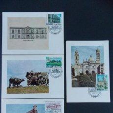 Francobolli: HISPANIDAD URUGUAY 1975 - EDIFIL 2293/96 COMPLETA , EN CUATRO TARJETAS - MATASELLOS SALAMANCA ..A473. Lote 141766418