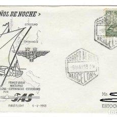 Sellos: SOBRE (BARCELONA 1953): EL ESPAÑOL DE NOCHE - PRIMER VUELO NOCTURNO BARCELONA-COPENHAGUE-ESTOCOLMO P. Lote 141822694
