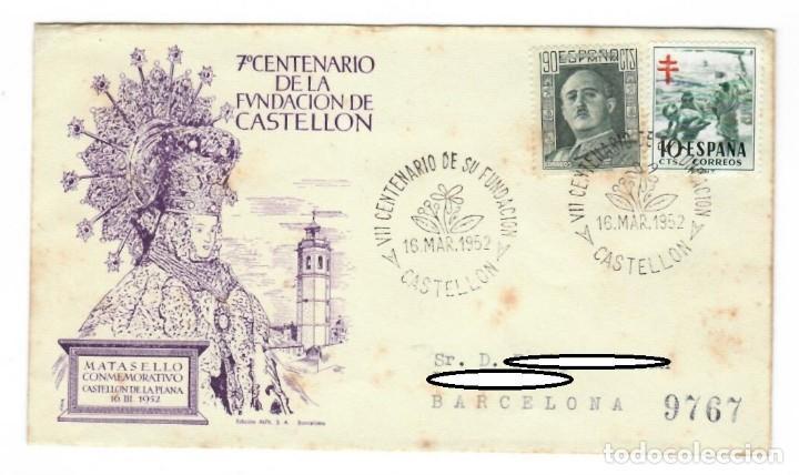 SOBRE (CASTELLÓN 1952), ALFIL: VII CENTENARIO DE LA FUNDACIÓN DE CASTELLÓN - MATASELLO CONMEMORATIVO (Sellos - Historia Postal - Sello Español - Sobres Primer Día y Matasellos Especiales)