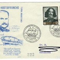 Sellos: SOBRE (BARCELONA 1959) ALFIL: VI EXPOSICIÓN FILATÉLICA DE SANS-HOSTAFRANCHS - TEMA MARÍTIMO. Lote 142026674