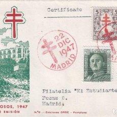 Sellos: EDIFIL 1017-1019 PRO TUBERCULOSOS. SOBRE PRIMER DÍA 22-12-1947. VALOR CATÁLOGO: 52 €. LUJO.. Lote 142189878
