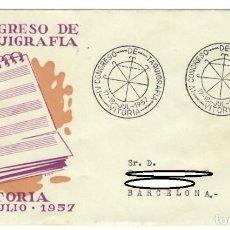 Sellos: SOBRE (VITORIA 1957), ALFIL: IV CONGRESO DE TAQUIGRAFÍA. Lote 142493426