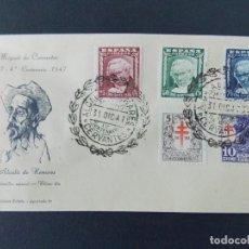 Francobolli: DON QUIJOTE CERVANTES IV CENTENARIO, ALCALA HENARES (MADRID) 1947 EDIFIL 1005/07 GOYA COMPLETA .A587. Lote 142529774