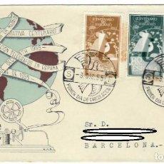 Sellos: SOBRE (MADRID 1955), ALFIL: PRIMER DÍA DE CIRCULACIÓN - CENTENARIO DEL TELÉGRAFO - EMISIÓN CONMEMORA. Lote 142533634