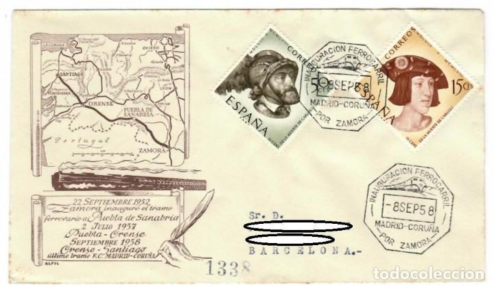SOBRE (1958), ALFIL: INAUGURACIÓN FERROCARRIL MADRID-CORUÑA POR ZAMORA - PUEBLA DE SANABRIA (1952) - (Sellos - Historia Postal - Sello Español - Sobres Primer Día y Matasellos Especiales)