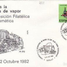 Sellos: 1982 RIPOLLET ( BARCELONA ) - HOMENAJE LOCOMOTORA DE VAPOR , VI EXPOSICIÓN , TRENES - SOBRE ALFIL. Lote 143035286