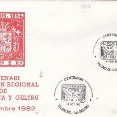 Sellos: 1982 VILANOVA I LA GELTRU ( BARCELONA ) - CENTENARIO EXPOSICIÓN REGIONAL - SOBRE ALFIL. Lote 143067310