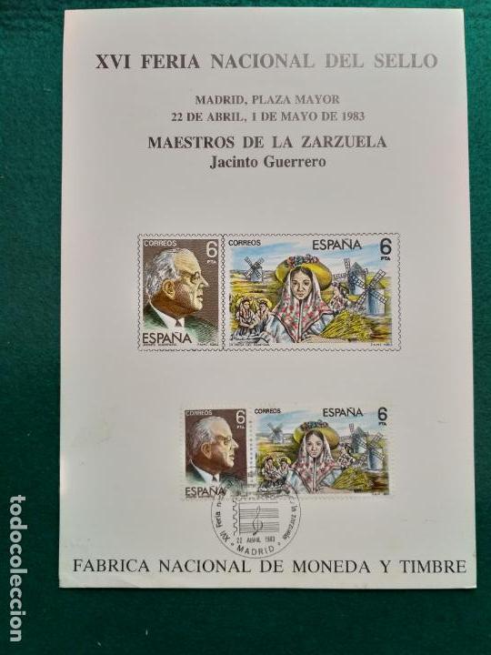 MAESTROS DE LA ZARZUELA XVI FERIA NACIONAL SELLO MADRID 1983. EDIFIL 2699, 2700. JACINTO GUERRERO (Sellos - Historia Postal - Sello Español - Sobres Primer Día y Matasellos Especiales)
