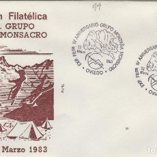 Sellos: 1983 OVIEDO ( ASTURIAS ) - EXPOSICIÓN FILATÉLICA IV ANIV GRUPO MONTAÑA MONSACRO - SOBRE ALFIL. Lote 143229814