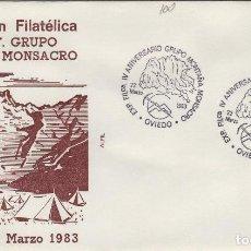 Sellos: 1983 OVIEDO ( ASTURIAS ) - EXPOSICIÓN FILATÉLICA IV ANIV GRUPO MONTAÑA MONSACRO - SOBRE ALFIL. Lote 143229818