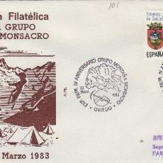 Sellos: 1983 OVIEDO ( ASTURIAS ) - EXPOSICIÓN FILATÉLICA IV ANIV GRUPO MONTAÑA MONSACRO - SOBRE ALFIL. Lote 143229822
