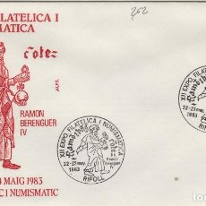 Sellos: 1983 RIPOLL ( GERONA ) - XII EXPOSICIÓN FILATÉLICA RAMÓN BERENGUER IV - SOBRE ALFIL . Lote 143351022