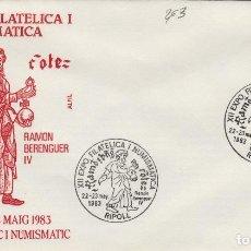 Sellos: 1983 RIPOLL ( GERONA ) - XII EXPOSICIÓN FILATÉLICA RAMÓN BERENGUER IV - SOBRE ALFIL . Lote 143351030