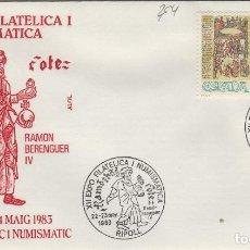 Sellos: 1983 RIPOLL ( GERONA ) - XII EXPOSICIÓN FILATÉLICA RAMÓN BERENGUER IV - SOBRE ALFIL . Lote 143351034