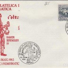 Sellos: 1983 RIPOLL ( GERONA ) - XII EXPOSICIÓN FILATÉLICA RAMÓN BERENGUER IV - SOBRE ALFIL . Lote 143351038