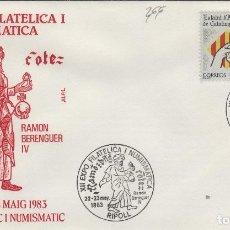 Sellos: 1983 RIPOLL ( GERONA ) - XII EXPOSICIÓN FILATÉLICA RAMÓN BERENGUER IV - SOBRE ALFIL . Lote 143351050