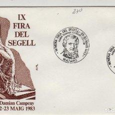 Sellos: 1983 MATARO ( BARCELONA ) - IX FERIA DEL SELLO , HOMEHAJE DAMIAN CAMPENY - SOBRE ALFIL . Lote 143351082