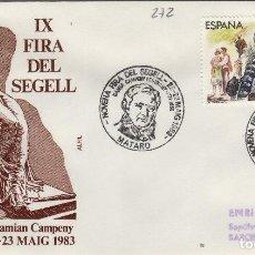 Sellos: 1983 MATARO ( BARCELONA ) - IX FERIA DEL SELLO , HOMEHAJE DAMIAN CAMPENY - SOBRE ALFIL . Lote 143351098