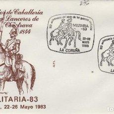 Sellos: 1983 LA CORUÑA - 150 ANIVERSARIO GUERRAS CARLISTAS , LANCEROS DE CALATRAVA - SOBRE ALFIL . Lote 143351126