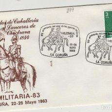 Sellos: 1983 LA CORUÑA - 150 ANIVERSARIO GUERRAS CARLISTAS , LANCEROS DE CALATRAVA - SOBRE ALFIL . Lote 143351130