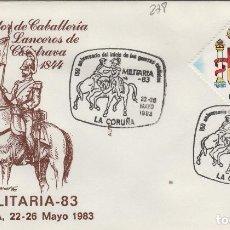 Sellos: 1983 LA CORUÑA - 150 ANIVERSARIO GUERRAS CARLISTAS , LANCEROS DE CALATRAVA - SOBRE ALFIL . Lote 143351134