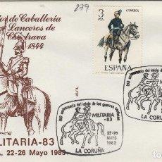 Sellos: 1983 LA CORUÑA - 150 ANIVERSARIO GUERRAS CARLISTAS , LANCEROS DE CALATRAVA - SOBRE ALFIL . Lote 143351138
