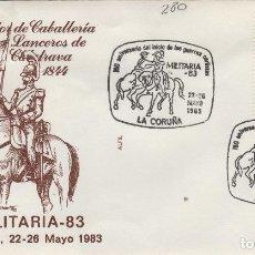 Sellos: 1983 LA CORUÑA - 150 ANIVERSARIO GUERRAS CARLISTAS , LANCEROS DE CALATRAVA - SOBRE ALFIL . Lote 143351142