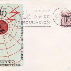 Sellos: TELECOMUNICACIONES CENTENARIO UNION INTERNACIONAL 1965 (EDIFIL 1670) EN SOBRE PRIMER DIA DE ALFIL.. Lote 143586602