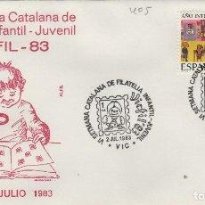 Sellos: 1983 VIC ( BARCELONA ) - VI SEMANA CATALANA FILATELIA JUVENIL - SOBRE ALFIL. Lote 143660930