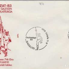 Sellos: 1983 BASAURI ( VIZCAYA ) - EXPOSICION GAZTEENTZAT'83 , JOVENES VASCOS - SOBRE ALFIL. Lote 143661018