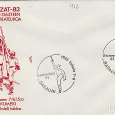 Sellos: 1983 BASAURI ( VIZCAYA ) - EXPOSICION GAZTEENTZAT'83 , JOVENES VASCOS - SOBRE ALFIL. Lote 143661022