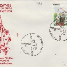 Sellos: 1983 BASAURI ( VIZCAYA ) - EXPOSICION GAZTEENTZAT'83 , JOVENES VASCOS - SOBRE ALFIL. Lote 143661034