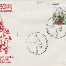 Sellos: 1983 BASAURI ( VIZCAYA ) - EXPOSICION GAZTEENTZAT'83 , JOVENES VASCOS - SOBRE ALFIL. Lote 143661046