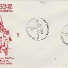 Sellos: 1983 BASAURI ( VIZCAYA ) - EXPOSICION GAZTEENTZAT'83 , JOVENES VASCOS - SOBRE ALFIL. Lote 143661050
