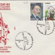 Sellos: 1983 BASAURI ( VIZCAYA ) - EXPOSICION GAZTEENTZAT'83 , JOVENES VASCOS - SOBRE ALFIL. Lote 143661058