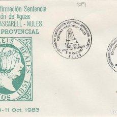 Sellos: 1983 NULES ( CASTELLÓN ) - SEPARACION DE AGUAS CENT CONFIRMACION SENTENCIA - SOBRE ALFIL . Lote 143941346