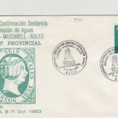 Sellos: 1983 NULES ( CASTELLÓN ) - SEPARACION DE AGUAS CENT CONFIRMACION SENTENCIA - SOBRE ALFIL . Lote 143941354