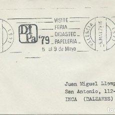 Sellos: 1979. SPAIN. VALENCIA. RODILLO/POSTMARK. VISITE FERIA DIDASTEC PAPELERÍA. . Lote 144506778