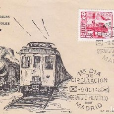 Sellos: TRENES CENTENARIO DEL FERROCARRIL 1948 (EDIFIL 1037-1039) EN SOBRE PRIMER DIA ET. BONITO Y RARO ASI.. Lote 144552022