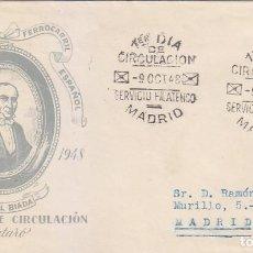 Sellos: TRENES CENTENARIO DEL FERROCARRIL 1948 (EDIFIL 1037) SOBRE PRIMER DIA CIRCULADO SERVICIO FILATELICO.. Lote 144552218