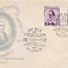Sellos: TRENES CENTENARIO DEL FERROCARRIL 1948 (EDIFIL 1037) SPD SIN CIRCULAR DEL SERVICIO FILATELICO. RARO.. Lote 144552270