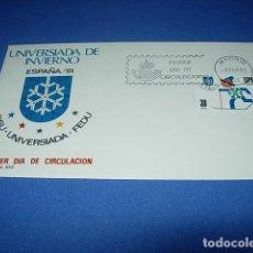 Sellos: FDC - PRIMER DIA CIRCULACION - UNIVERSIADA DE INVIERNO - ESPAÑA/81 - MADRID 1981 -. Lote 146369550