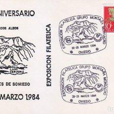 Sellos: PARAJES DE SOMIEDO GRUPO MONTAÑA MONSACRO, OVIEDO (ASTURIAS) 1984 MATASELLOS EN RARO SOBRE ILUSTRADO. Lote 147088402