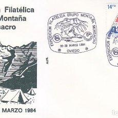 Sellos: PARAJES DE SOMIEDO GRUPO MONTAÑA MONSACRO, OVIEDO (ASTURIAS) 1984. RARO MATASELLOS EN SOBRE DE ALFIL. Lote 147088626