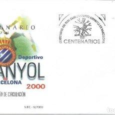 Sellos: 2000. MADRID. PRIMER DIA/F.D.C. CENTENARIO R.C.D. ESPANYOL. FÚTBOL/FOOTBALL. DEPORTES/SPORTS.. Lote 147554478