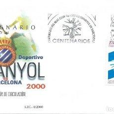 Sellos: 2000. BARCELONA. PRIMER DIA/F.D.C. CENTENARIO R.C.D. ESPANYOL. FÚTBOL/FOOTBALL. DEPORTES/SPORTS.. Lote 147554562